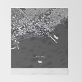 Chicago City Map I Throw Blanket