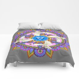 BLUE CHAKRA MANDALA WITH WHITE DOVES& PURPLE-GREY ART Comforters