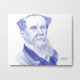 Charles Dickens Portrait In Blue Bic Ink Metal Print