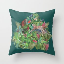 Into the Wild Emerald Forest Throw Pillow