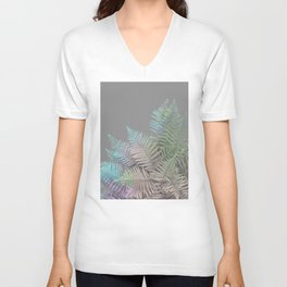 Rainbow Fern on Grey #decor #buyart #foliage Unisex V-Neck