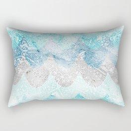 Light Aquamarine Mermaid Scales Waves Pattern Rectangular Pillow