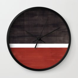 Colorful Bright Minimalist Rothko Color Field Midcentury Modern Brown Black Square Vintage Pop Art Wall Clock