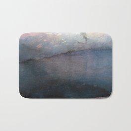 Rose Gold Blush Pink & Blue Watercolor Bath Mat