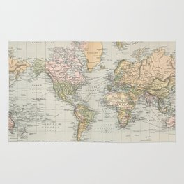 Vintage Map of The World (1892) Rug