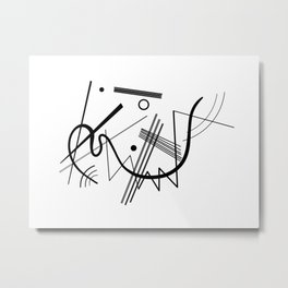 Kandindky - Black and White Abstract Art Metal Print