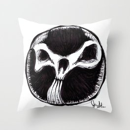 Brushed Abstract Skull Throw Pillow