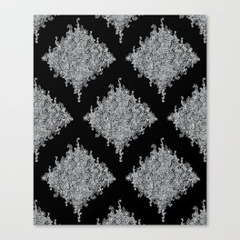 White and Black Floral Lace Canvas Print