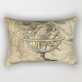 Vintage nautical compass and map illustration Rectangular Pillow
