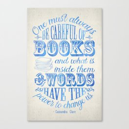 Be Careful Of Books - White and Blue Canvas Print