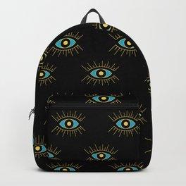 Teal Evil Eye on Black Small Pattern Backpack