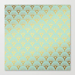 Art Deco Mermaid Scales Pattern on aqua turquoise with Gold foil effect Canvas Print