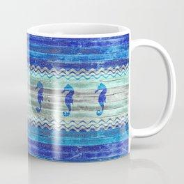 Rustic Navy Blue Coastal Decor Seahorses Coffee Mug