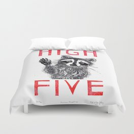 Raccoon High Five  Duvet Cover