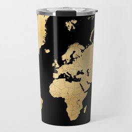 Sleek black and gold world map Travel Mug