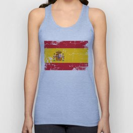 Spain flag with grunge effect Unisex Tank Top