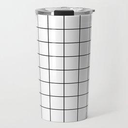 Grid Simple Line White Minimalistic Travel Mug