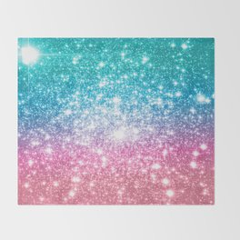 Mermaid Galaxy Sparkle Stars Throw Blanket