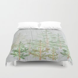Pine forest on weathered wood Duvet Cover