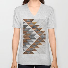 Urban Tribal Pattern 12 - Aztec - Wood Unisex V-Neck