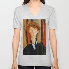"Amedeo Modigliani ""Young Man with Cap"" Unisex V-Neck"