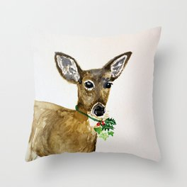 the holly and the ivy christmas deer Throw Pillow