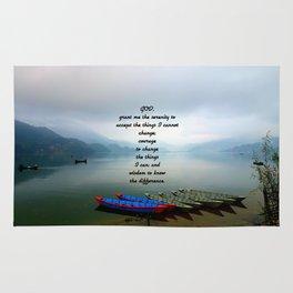 Serenity Prayer With Phewa Lake Panoramic View Rug