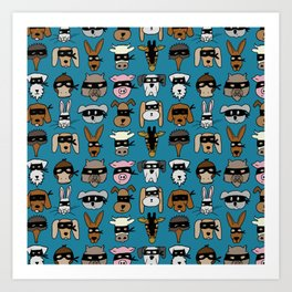 Ninja Animal Gang - Blue Art Print