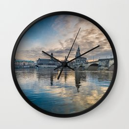 Sunset on Elbe Wall Clock
