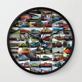 Locomotives collage Wall Clock