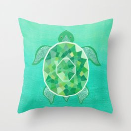 Turtle - Emerald Throw Pillow
