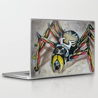 black widow Laptop & iPad Skins featuring Black Widow  by Brian J Farrell