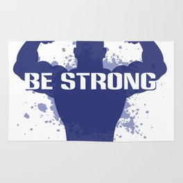 Healthy Lifestyle Be strong motivation art for sport and fitness fans logo of a man in blue & white Rug