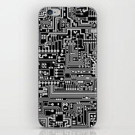 Circuit Board on Black iPhone Skin