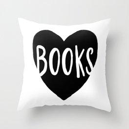 Heart Books - Hand lettered Book worm design  Throw Pillow