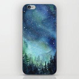 Galaxy Watercolor Aurora Borealis Painting iPhone Skin