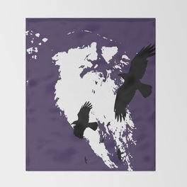 Odin Portrait and Silhouette of Ravens Vector Art Throw Blanket