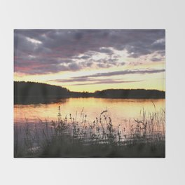 Sunset By The Lake  Throw Blanket