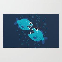 Gossiping Blue Piranha Fish Rug