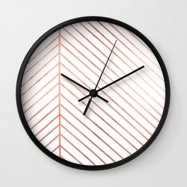 Rose Gold Leaf Line Wall Clock