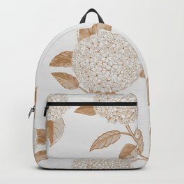 Classic, atermporal, elegant floral golden on off-white pattern.Vintage look. Big hydrangeas. Backpack