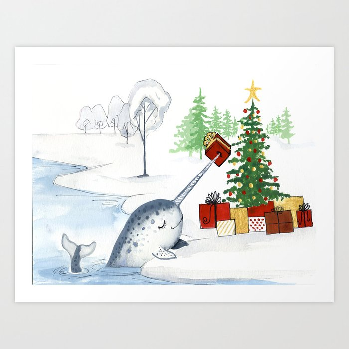 christmas narwhal art print - Narwhal Christmas Decoration