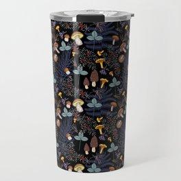 dark wild forest mushrooms Travel Mug