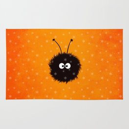 Orange Cute Dazzled Bug Winter Rug
