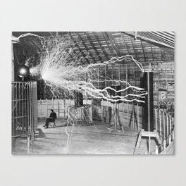 Nikola Tesla Vintage Photograph Double Exposure Electricity, 1889 Canvas Print