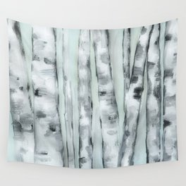 Birch trees in winter Wall Tapestry