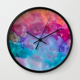 rainbow clouds alcohol inks Wall Clock