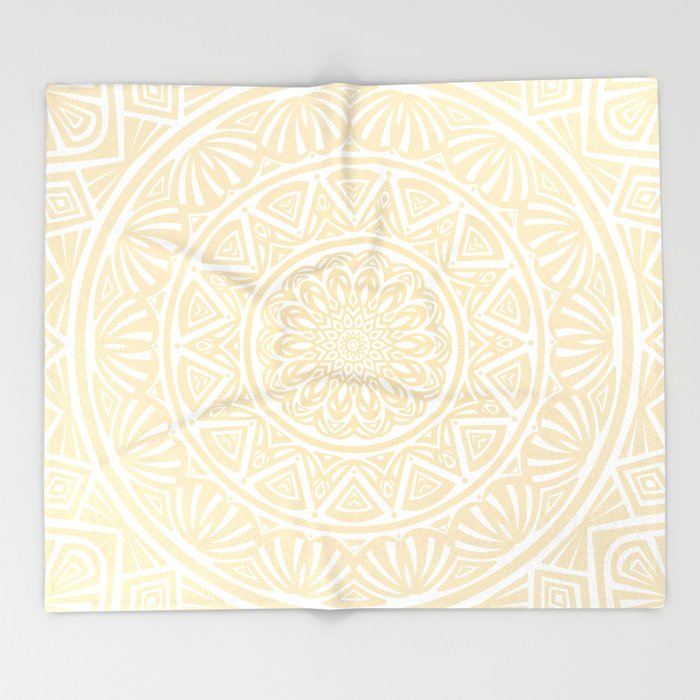 Pale Yellow Simple Simplistic Mandala Design Ethnic Tribal Pattern Throw Blanket