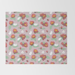 Japanese Camellia and Albino Guinea Pig Pattern Throw Blanket