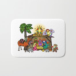 Christmas Nativity Cartoon Doodle Bath Mat